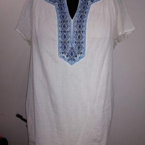 White and blue v neck